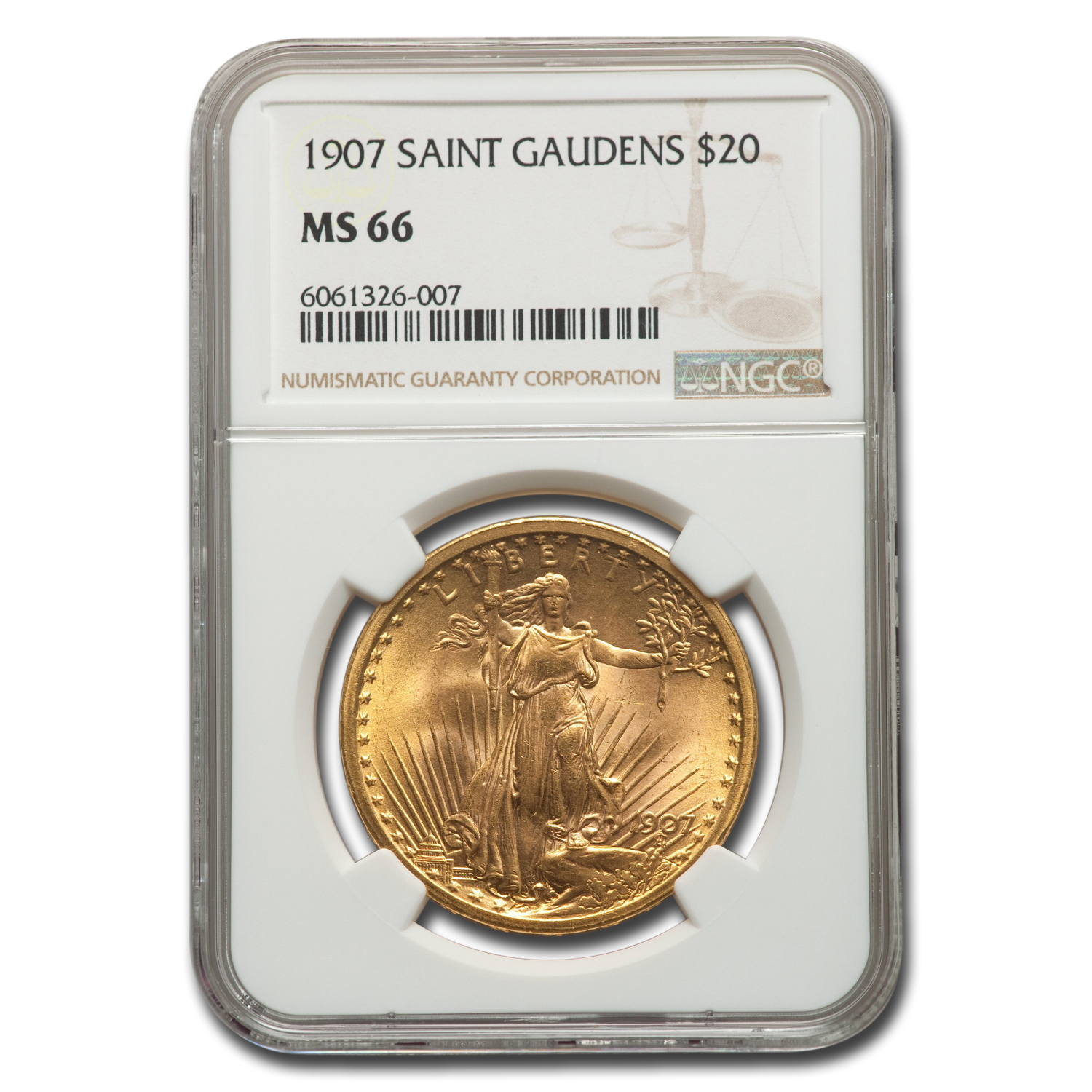 1907 $20 St. Gaudens Gold Double Eagle MS-66 NGC